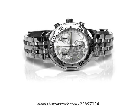 used silver watch isolated over a white backgtound - stock photo