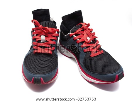 used sneakers with socks - stock photo