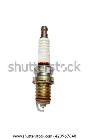 Used spark plug isolated on white background - stock photo