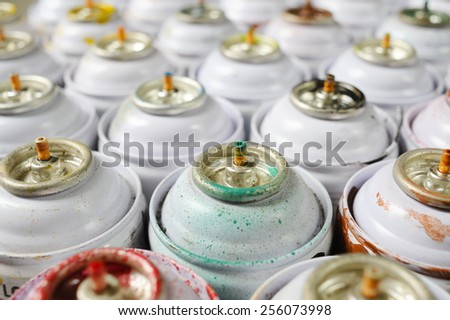 used spray paint cans - stock photo