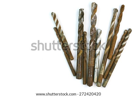 Used Steel drill bits - Different shapes on white background - stock photo