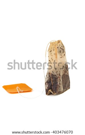 Used teabag  isolated on white background - stock photo