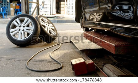 Used tire replacement from car. - stock photo