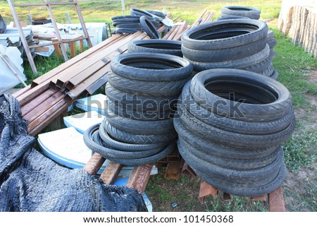 Used tires - stock photo