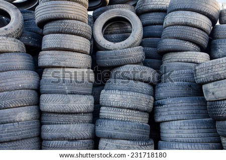 Used tires in a stack - stock photo