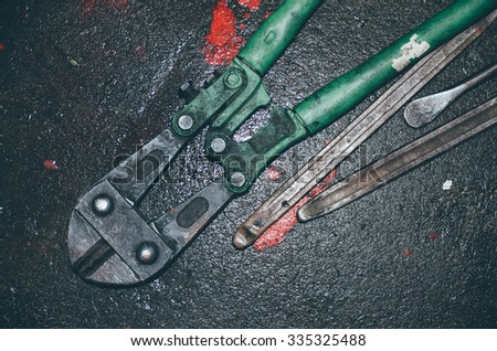 used tools repair motorcycle in thailand - stock photo