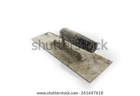 Used trowel, isolated on a white background - stock photo