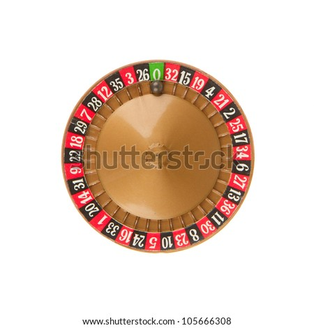 Used very old game, roulette wheel and ball - stock photo