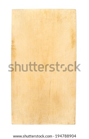 Used wooden cutting board isolated over the white background