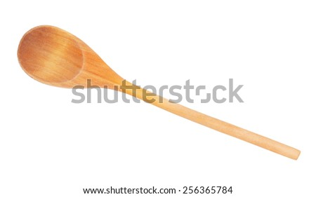 Used wooden spoon isolated - stock photo