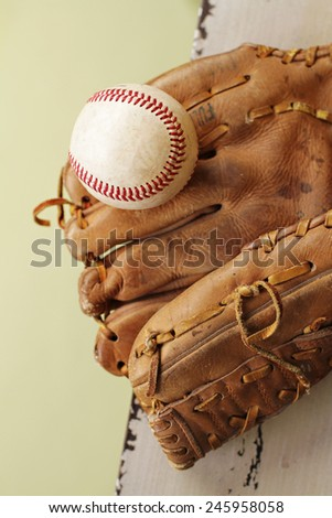Used, worn out baseball and glove or mitt, copyspace