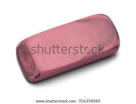 Used Worn Pink Eraser Isolated On Stock Photo 356354060