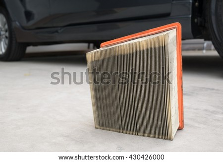 Used yellow paper air filter for cars