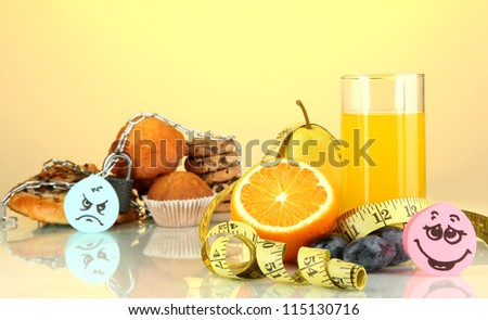 Useful and harmful food on yellow background