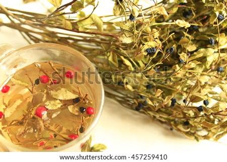 useful tea brewed from the leaves and berries of bilberry and berries of schisandra - stock photo
