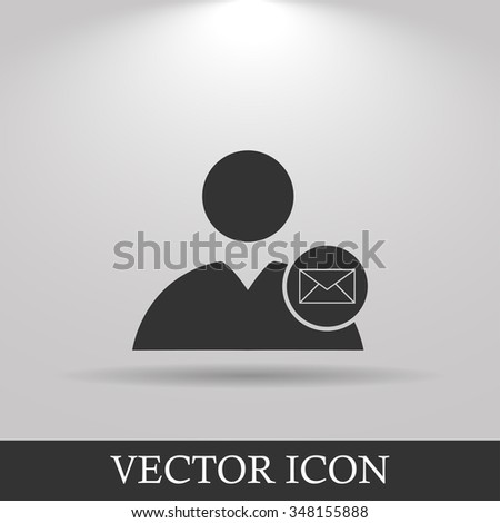 User icon, Envelope Mail icon, illustration. Flat design style - stock photo