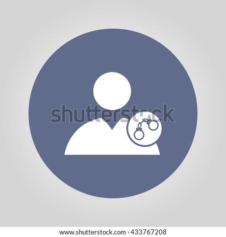 User icon, handcuffs icon. Flat design style  - stock photo