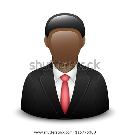 User icon of black man in business suit - stock photo