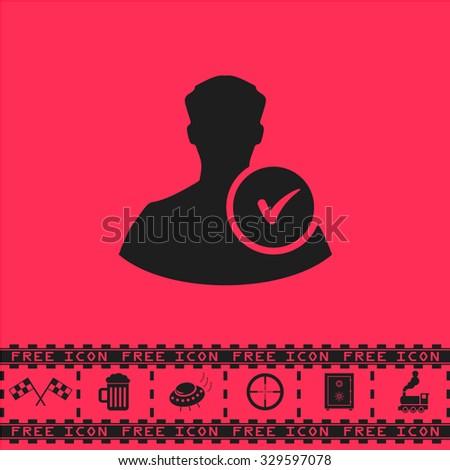 User profile web with check mark glyph. Black flat illustration pictogram and bonus icon - Racing flag, Beer mug, Ufo fly, Sniper sight, Safe, Train on pink background - stock photo