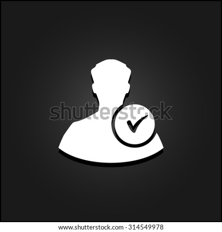 User profile web with check mark glyph. White flat simple icon illustration with shadow on a black background. Symbol for web and mobile applications for use as logo, pictogram, infographic element - stock photo