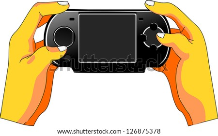 User's hands manipulate a handheld game console. The screen is empty to fit lettering and adverts.