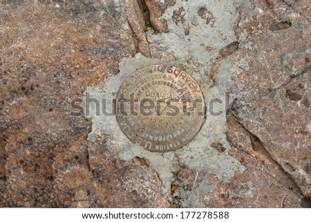 USGS Summit Marker for Quandary Peak, a Popular 14er in the Colorado Rockies. - stock photo