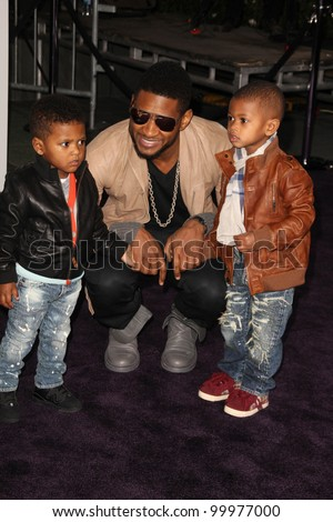 """Usher at the """"Justin Bieber: Never Say Never"""" Los Angeles Premiere, Nokia Theater, Los Angeles, CA. 02-08-11 - stock photo"""