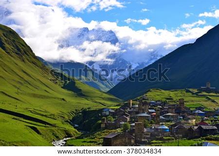 Ushguli - Upper Svaneti, Georgia. UNESCO World Heritage Sites. - stock photo