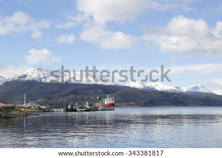 USHUAIA, ARGENTINA - APRIL 2, 2015: Boats and yachts in Ushuaia Harbor