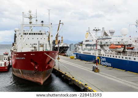 USHUAIA, ARGENTINA - NOV 3, 2012: Close view of a Ship at the Port of Ushuaia, the capital of Tierra del Fuego. Ushuaia is the southernmost city in the world