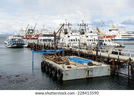 USHUAIA, ARGENTINA - NOV 3, 2012: Port of Ushuaia, the capital of Tierra del Fuego. Ushuaia is the southernmost city in the world