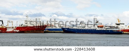 USHUAIA, ARGENTINA - NOV 3, 2012: Ship at the Port of Ushuaia, the capital of Tierra del Fuego. Ushuaia is the southernmost city in the world