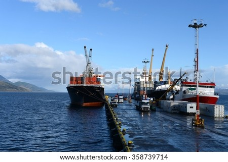 USHUAIA, ARGENTINA - NOVEMBER 17,2014: Sea port of Ushuaia - the southernmost city in the world.