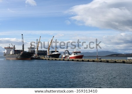 USHUAIA, ARGENTINA - NOVEMBER 16,2014: Sea port of Ushuaia - the southernmost city in the world.