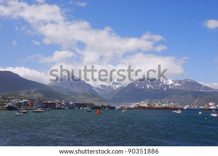 Ushuaia  is the capital city of Tierra del Fuego Province, Argentina. It is commonly regarded as the southernmost city in the world  Ushuaia is located in a wide bay of Isla Grande de Tierra del Fuego - stock photo