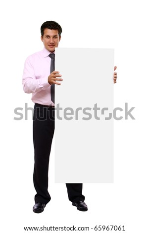usiness man with white card