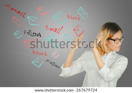 usiness women with email concept. - stock photo