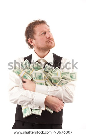 usinessman thinking how to invest his capital - stock photo