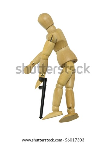 Using a cane to assist with balance when walking - path included - stock photo