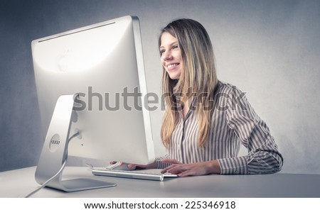 Using a pc  - stock photo