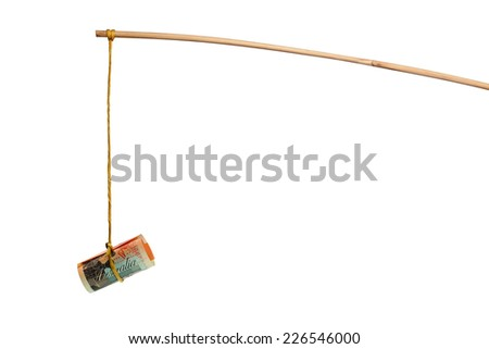 Using Australian dollar as a bait isolated on white background - stock photo