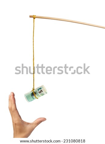 Using British pound as a bait depicting greed, isolated on white background  - stock photo