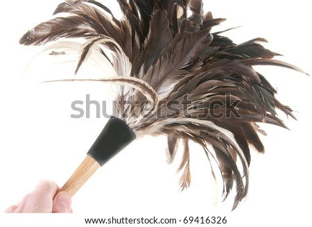Using feather duster to clean - stock photo