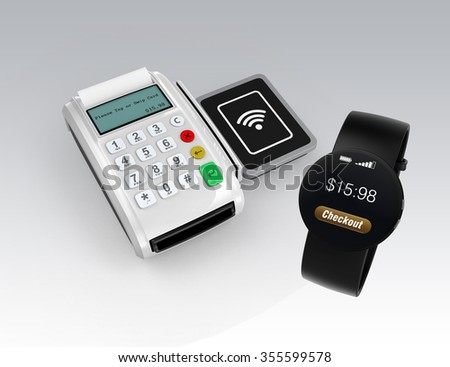 Using smart watch to process payment. Smart cashless mobile payment concept.