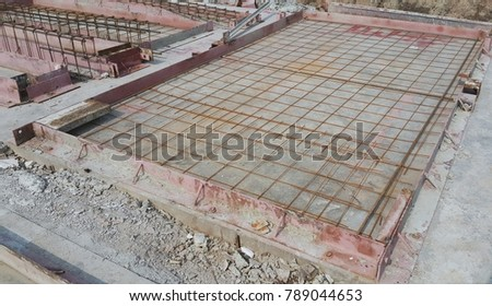 Using steel grids to prepare concrete pouring areas.