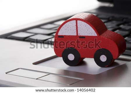 using the internet to find transportation - stock photo