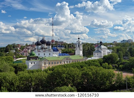 Uspensky (Assumption) Trifonov monastery with Assumption Cathedral, Belfry and St. Nicholas Gate Church in Kirov, Russia