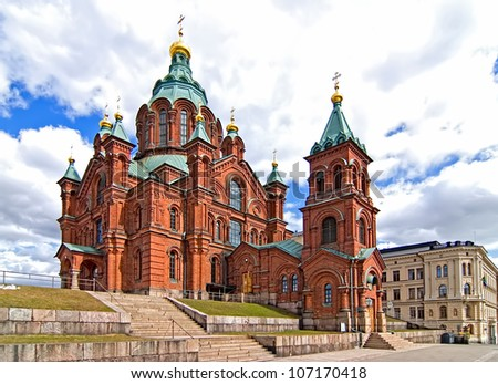 Uspensky Cathedral in Helsinki. Finland. Tourist destination. - stock photo