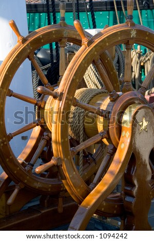 USS Constitution Steering Wheel - stock photo
