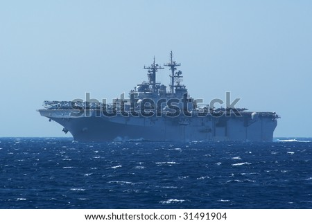 USS LHA-4 Tarawa Class Aircraft and helicopter carrier - stock photo